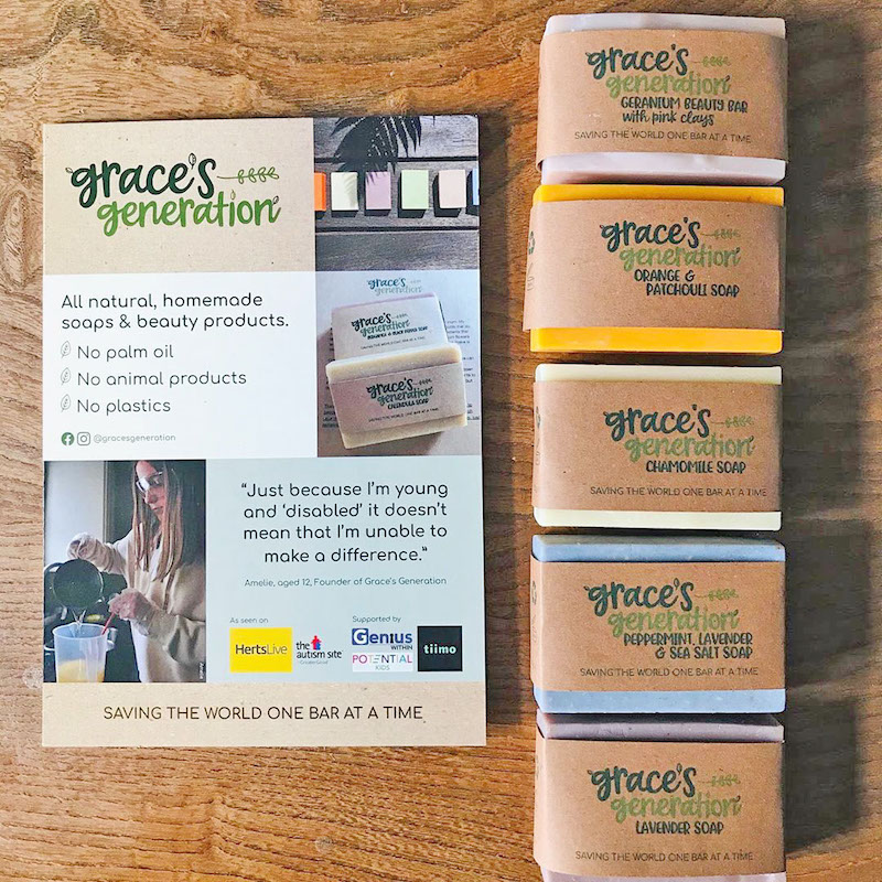 Grace's Generation range of soaps with strut card designed by Ardington Creative