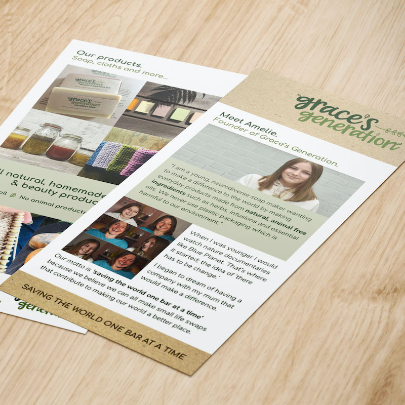 Grace's Generation Meet Amelie Leaflet designed by Ardington Creative